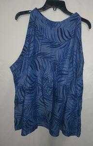 Cato Blue Fern Linen Look Top 26/28 Plus